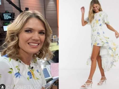 good morning britain, charlotte hawkins, white floral hi low dress
