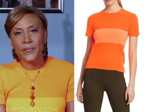 good morning america, robin roberts, orange top