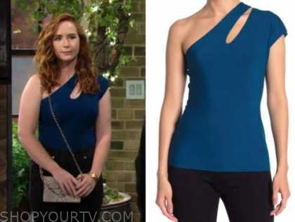 mariah copeland, camryn grimes, blue cutout one-shoulder top, the young and the restless