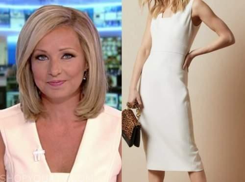america's newsroom, sandra smith, ivory sheath dress