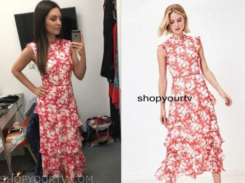 laura tobin, red and white floral tiered dress, good morning britain