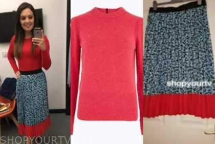 laura tobin, red sweater, leopard skirt, good morning britain