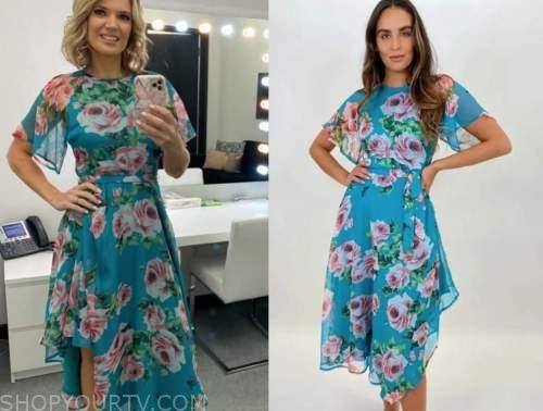 charlotte hawkins, good morning britain, blue floral midi dress
