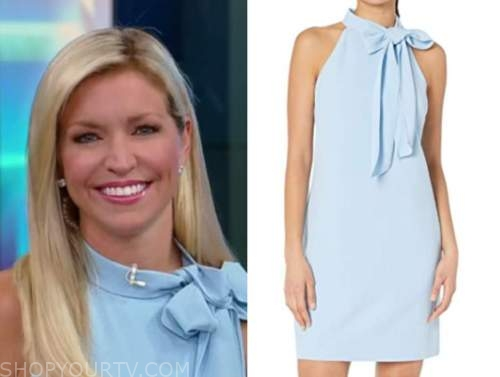 ainsley earhardt, fox and friends, blue tie neck halter dress