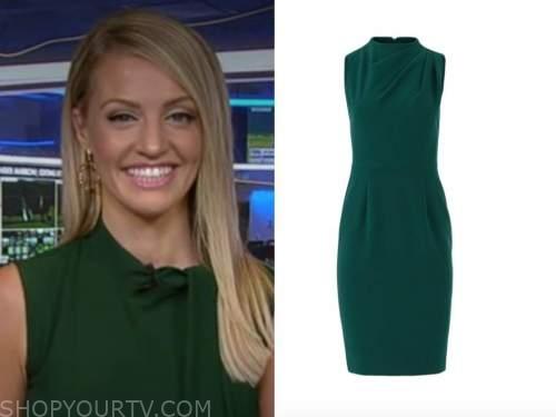 carley shimkus, fox and friends, green drape sheath dress