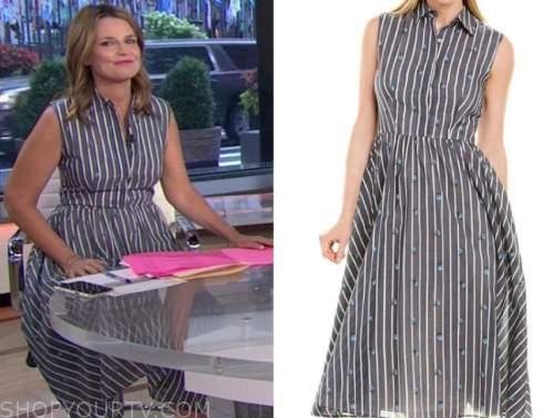 savannah guthrie, the today show, grey striped shirt dress