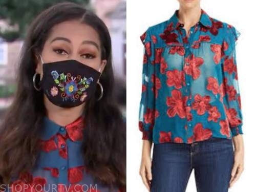 morgan radford, the today show, blue and red floral blouse
