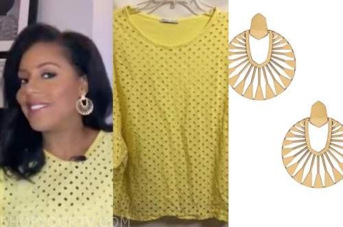 sheinelle jones, the today show, yellow eyelet top, gold disc earrings