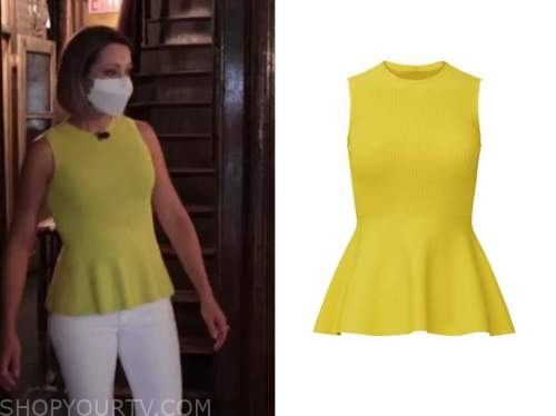 dylan dreyer, yellow knit peplum top, the today show