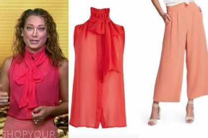 ginger zee, good morning america, red tie neck top, coral peach pants
