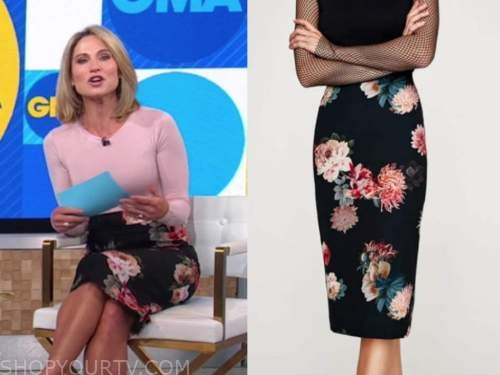 amy robach, good morning america, black floral pencil skirt