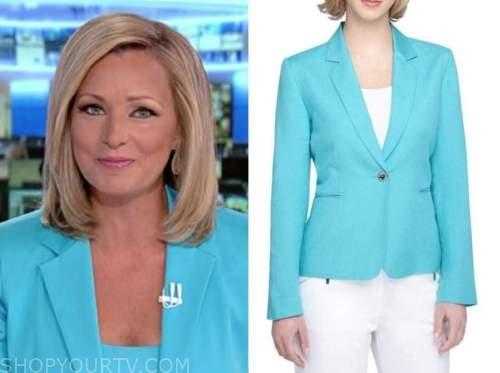 sandra smith, america's newsroom, turquoise blue blazer
