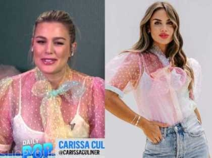 carissa culiner, multicolor ombre tie neck top, E! news, daily pop