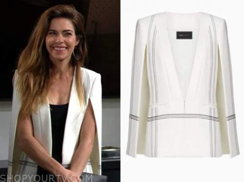 victoria newman, amelia heinle, the young and the restless, white striped cape blazer
