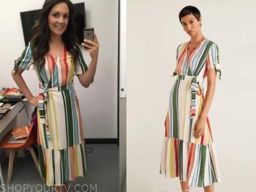 laura tobin, multicolor striped wrap dress, good morning britain