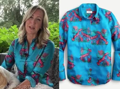 lara spencer, blue lobster print shirt, good morning america