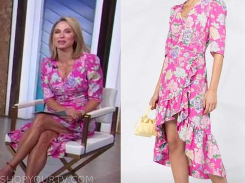 amy robach, good morning america, pink floral midi dress