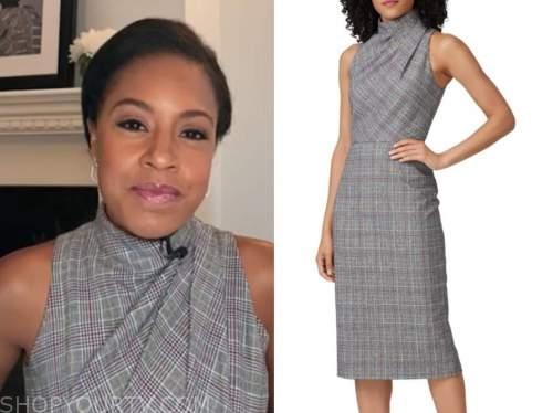 the today show, sheinelle jones, grey plaid sheath dress