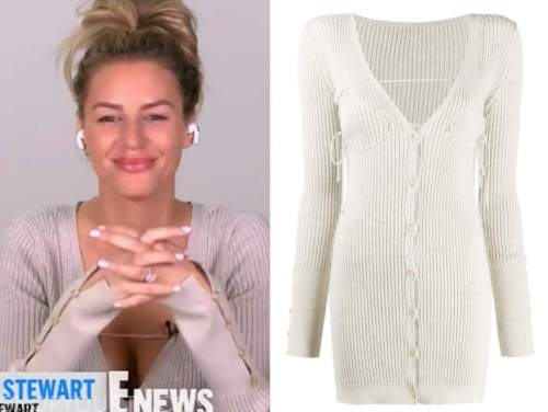 E! news, daily pop, morgan stewart, light grey ribbed knit dress