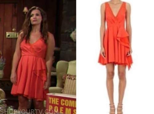 chelsea newman, melissa claire egan, the young and the restless, orange dress