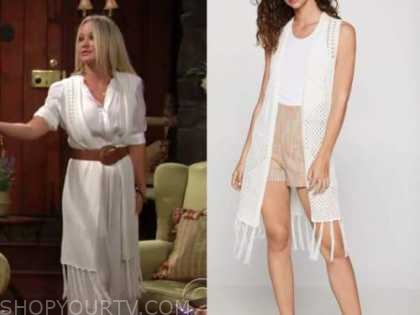 sharon newman, sharon case, white knit fringe vest, the young and the restless