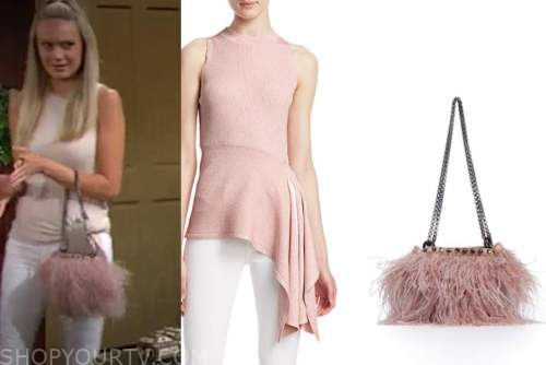 abby newman, melissa ordway, the young and the restless, pink knit top, pink feather bag
