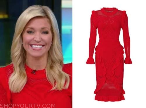 ainsley earhardt, red knit ruffle dress, fox and friends