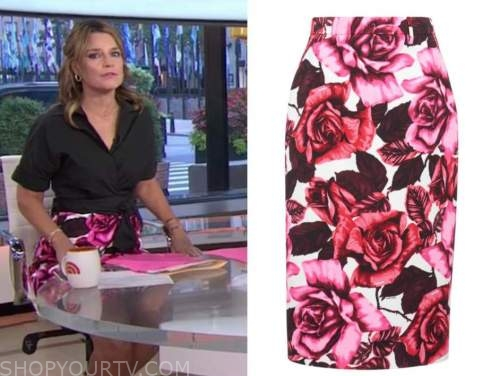 savannah guthrie, pink and white floral pencil skirt, the today show