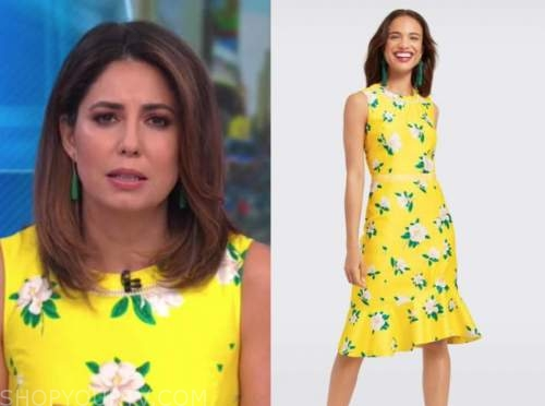 good morning america, cecilia vega, yellow floral dress