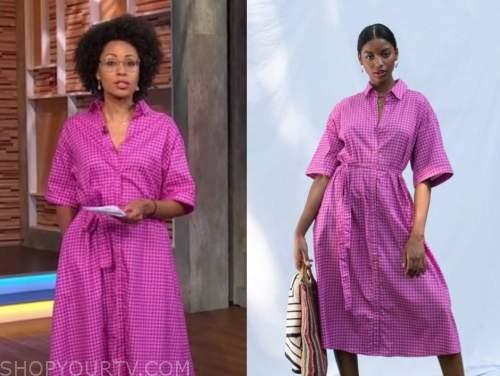 adrienne bankert, good morning america, pink gingham shirt dress