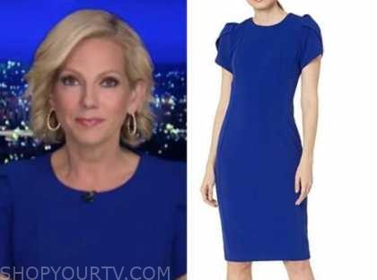 shannon bream, fox news at night, blue cap sleeve sheath dress