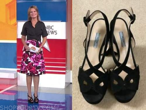 savannah guthrie, the today show, black suede platform sandal heels