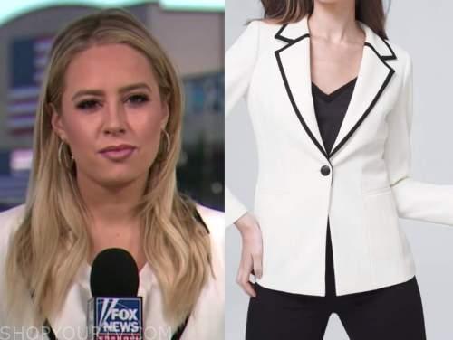 Jacqui Heinrich, america's newsroom, white and black contrast trim blazer