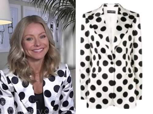 kelly ripa, live with kelly and ryan, polka dot blazer