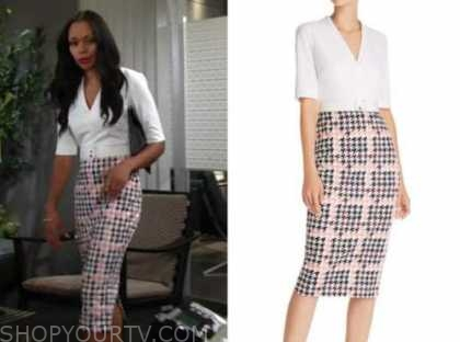 amanda sinclair, mishael morgan, the young and the restless, houndstooth dress