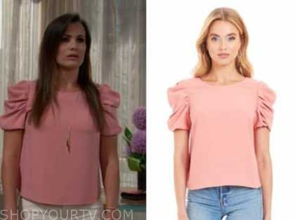 chelsea newman, melissa claire egan, pink puff sleeve top, the young and the restless