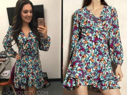 laura tobin, good morning britain, floral wrap mini dress