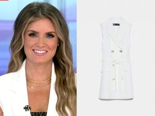 jillian mele, fox and friends, white wrap vest dress