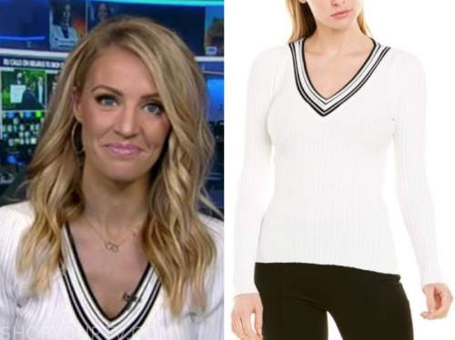 carley shimkus, fox and friends, black and white contrast trim sweater