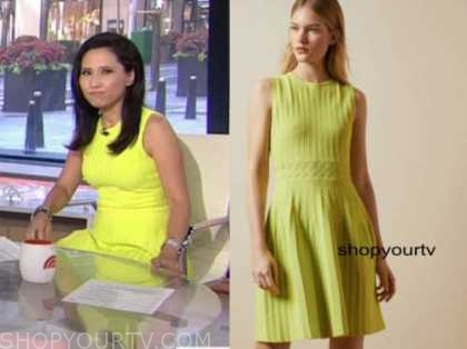 the today show, vicky nguyen, lime yellow knit dress