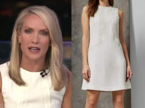 dana perino, white lace detail shift dress, fox and friends