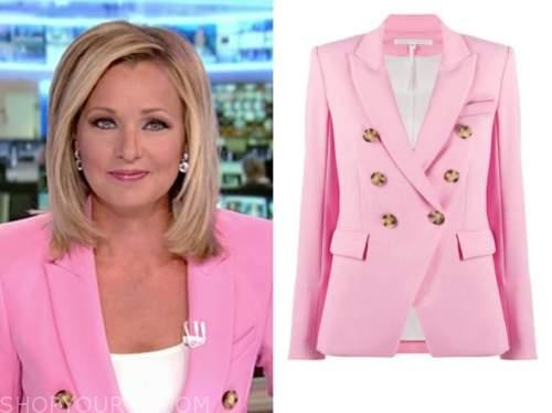 sandra smith, america's newsroom, pink double breasted blazer