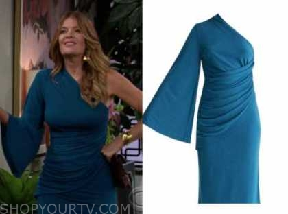phyllis newman, the young and the restless, michelle stafford, blue one-shoulder dress