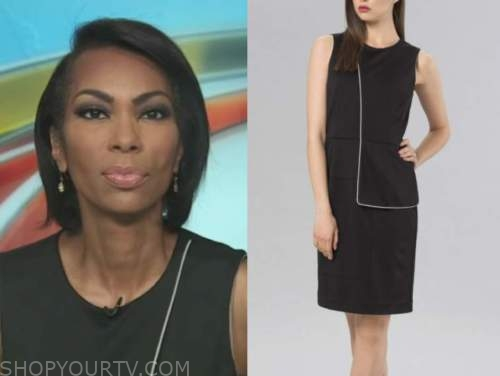 outnumbered, harris faulkner, black contrast piping dress