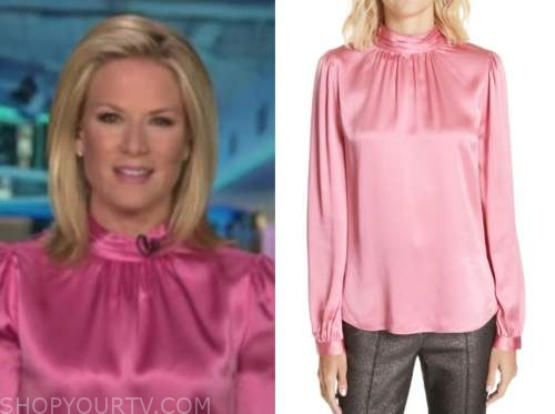 martha maccallum, pink satin mock neck blouse, the five
