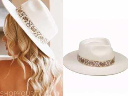 emily ferguson, the bachelor, ivory embellished hat