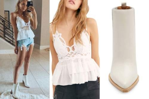 haley ferguson, the bachelor, white lace top, ivory booties