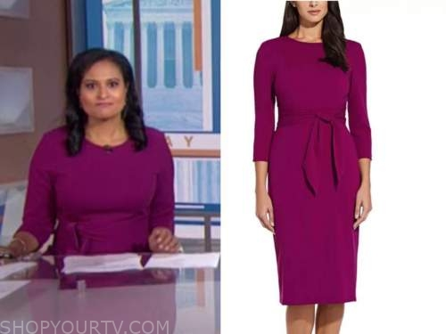 the today show, kristen welker, fuchsia pink tie waist dress