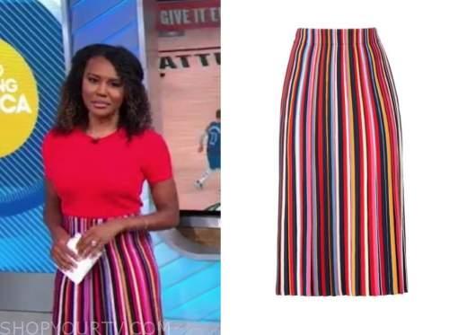 janai norman, good morning america, multicolor striped knit skirt