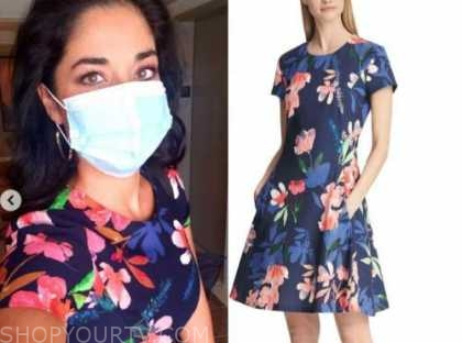 dr. viviana coles, navy blue floral dress, married at first sight